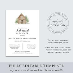 Barn Theme Rehearsal Dinner Invitation Template Printable image 2 Wedding Rehearsal Invitations, Wedding Stationery, Rehearsal Dinner Inspiration, Dinner Invitation Template, Rehearsal Dinners, Raspberry, Barn, Place Card Holders, Printables