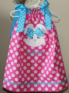 Pink polka Dot Easter Pillowcase Dress.