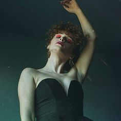 Black swan  #ballerina #girl #black #red #lips #curly #hair #ginger #redhead #dope