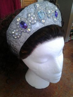 Marcia - Ornate crown.  Constructed out of crafter's felt, lace, wood glue, crafter gemstones, hot glue, elastic, and pony beads.