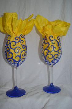 Hand Painted Swirl Design Wine Glasses