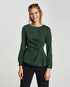 LONG SLEEVE DRAPED TOP-View all-TOPS-WOMAN | ZARA United States