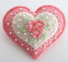 Felted double heart