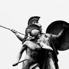 """""""Der jungle Held wird von Athena beschützt"""" (Athena protects the young hero), Gustav Blaeser, 1854"""