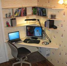 Making an inexpensive computer desk- Делаем недорогой компьютерный стол Making an inexpensive computer desk - Home Room Design, Home Office Design, Home Office Decor, House Design, Home Decor, Floating Corner Desk, Small Corner Desk, Small Home Offices, Home Office Space