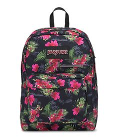 JansSport Digibreak Backpack - Black with pink flowers and green leaves for a tropical look.