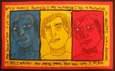 Monochromatic Self-portrait Triptychs     Students used mirrors to draw a contour line drawing of their self-portrait in a three-quarters pose. They transfered their images three times onto white paper to make a triptych. They used the three primary colors to create three monochromatic (one color) paintings mixing tints (color + white) for highlights and shades (color + black) for shadows. Their goal was to create enough contrast in their painting to not lose their image's details. After the…