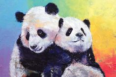 Panda Hugs Art Print by Michael Creese | iCanvas Nature Paintings, Animal Paintings, Oil Paintings, Panda Hug, Canvas Art Prints, Big Canvas, Photographic Prints, Art Inspo, Fine Art America