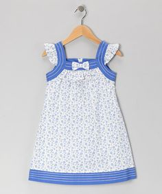 Take a look at this White & Blue Floral Bow Shift Dress - Girls by Donita on #zulily today!