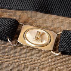 SOLD!Vintage Belt 60's Stretch Black Thin Belt with K by prettyinprague, $12.00