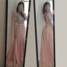 2016 Exquisite Pink Prom Dresses,Long Sleeves Beadings & Crystal Chiffon Prom Dress