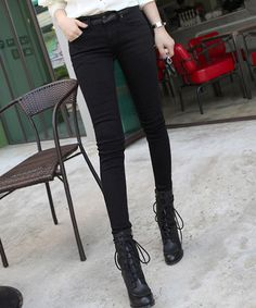 381392d0dc497b Leather Detail Black Skinnies by Miamasvin  Miamasvin  KoreanFashion   AsianFashion Black Skinnies