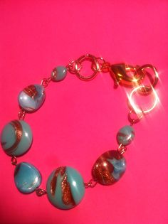 beautiful blue and gold beads