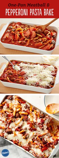 Oh gosh. This easy, protein-packed meatball and pepperoni pasta bake is such a crowd pleaser that you'll probably want to double the recipe just so you have leftovers. And you only have one casserole dish to clean up at the end of the night... so yeah, pin away.