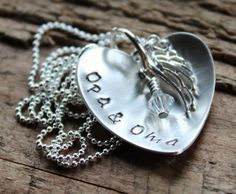 Personalized Silver Heart Name Necklace With Angel Wing Charm - Loving Heart Custom Hand Stamped Jewelry | 2 Sisters Handcrafted