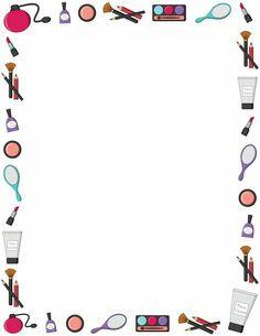 Free makeup border templates including printable border paper and clip art versions. File formats include GIF, JPG, PDF, and PNG. Makeup Backgrounds, Makeup Wallpapers, Cute Wallpapers, Borders For Paper, Borders And Frames, Up Imagenes, Makeup Clipart, Farmasi Cosmetics, Makeup Illustration