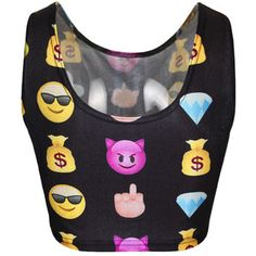 Black Ladies Funny Emoji Printed Crop Tank Top