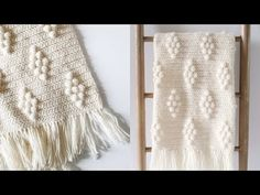 I tweaked Hannah's Diamond Berry Blanket and turned it into this Diamond Bobble Blanket. Bobble Crochet, Easy Crochet Hat, Manta Crochet, Crochet Home, Learn To Crochet, Crochet Scarves, Modern Crochet, Crochet Blankets, Crochet Mandala Pattern