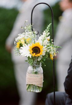 Seasonal Wedding Trend: Sunflowers on Borrowed & Blue. Photo Credit: Eric Kelley Photography