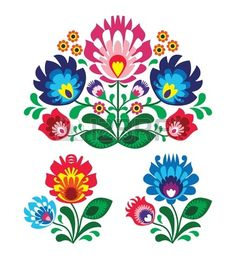 Polish floral folk embroidery pattern Stock Vector