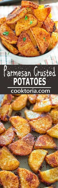 These tasty Parmesan Crusted Potatoes are so addictive, that you won't be able t. These tasty Parmesan Crusted Potatoes are so addictive, that you won't be able to stop eating until you finish them all!COM spuds re. Vegetable Dishes, Vegetable Recipes, Vegetarian Recipes, Cooking Recipes, Vegetable Samosa, Vegetable Spiralizer, Vegetable Casserole, Spiralizer Recipes, Snacks Recipes