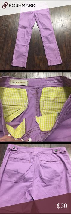 Anthropologie Purple Pants Super light weight lilac pants with a little stretch. EUC. Had them taken in a little so the size tag is cut out, would say fits a 27/0. Anthropologie Pants Ankle & Cropped