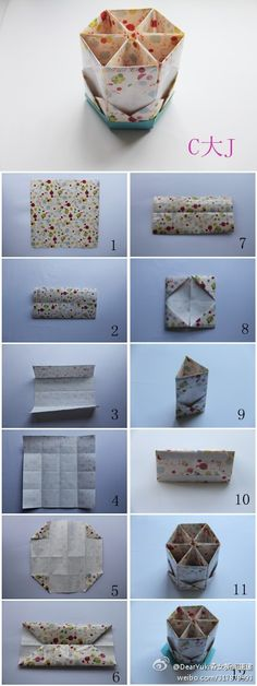Cajita de origami - Cute. Could use this for desk organizer or makeup brushes, etc