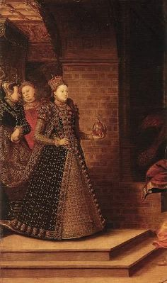 """1569 Elizabeth and the Three Goddesses by Hans Eworth  Described by Norris in """"Tudor Costume and Fashion,"""" p. 487 (Dover re-issue 1997), """"The Queen is wearing full state dress... The whole costume is in black velvet, with a tight-fitting long pointed bodice edged at the waist line with small tabs and cut square at the neck. The skirt, open up the front, is edged with gold embroidery and rubies in gold mounts, the surface of the skirt being cutte in a set pattern to show silver underneath."""