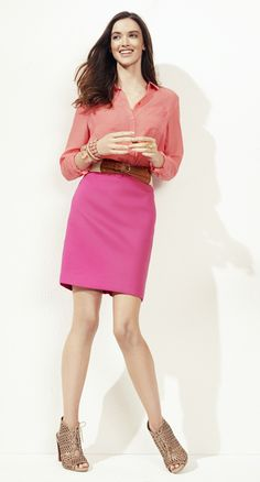 Cinch a bright colored pencil skirt with a wide belt.