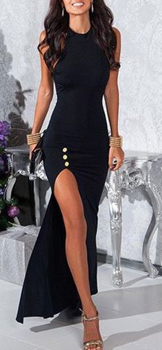 Jewel Neck Sleeveless High Slit Dress
