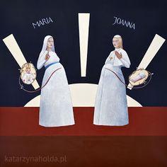 KATARZYNA HOŁDA: MADONNA WITH POPPESS JOANNA acrylic on canvas, 80cmx 80cm, 2008 katarzynaholda.pl  Prints on: http://www.saatchiart.com/katarzynaholda