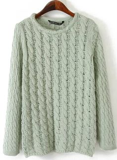 Green Long Sleeve Vintage Cable Knit Sweater 33.33