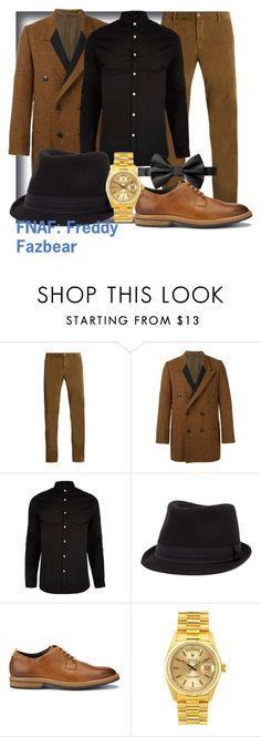 """""""FNAF: Freddy Fazbear"""" by geekyandnerdyfashion ❤ liked on Polyvore featuring J.W. Brine, Yohji Yamamoto, River Island, BKE, Clarks, Rolex, men's fashion and menswear"""