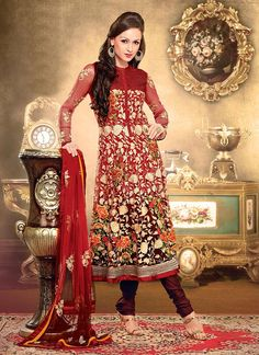 Spiritual Maroon and Red Patch Border, Resham and Stone Faux Georgette Anarkali Suit