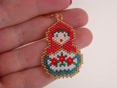 Beaded Matryoshka Doll Earrings