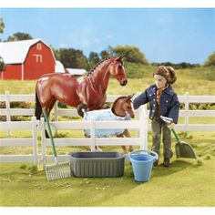 Breyer New Arrival At The Barn Set - The magic of discovering a new foal is captured in this sweet set. Includes everything a child needs to take care of the two horses!