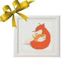 Fox Cross Stitch Pattern baby mom Modern от AnimalsCrossStitch