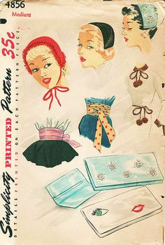 Hats, belts and bags, all the extra finishes a gal could ever hope for in one delightful Simplicity pattern. Vintage Fashion 1950s, Fifties Fashion, Retro Vintage, Pattern Cutting, Vintage Crafts, Simplicity Patterns, Vintage Accessories, Fashion Accessories, Vintage Sewing Patterns
