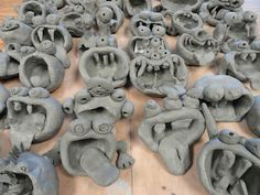clay creatures - SINKING SPRINGS ART- great way to be more creative with the basic pinch-pot technique!