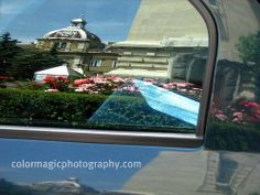 reflections off cars | ... gardens on both sides of the cathedral, reflecting in car windows