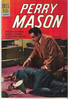 Cover photo:- Raymond Burr (as Perry Mason) Old Comic Books, Vintage Comic Books, Vintage Comics, Comic Book Covers, Mason Raymond, Raymond Burr, Detective, Perry Mason Tv Series, Pulp Fiction Comics