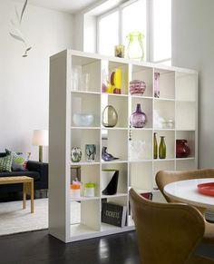 Tips para decorar una casa de alquiler,repisas para separar ambientes.