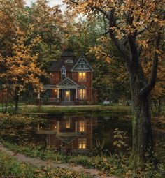 Future House, Beautiful Homes, Beautiful Places, House Beautiful, Beautiful Pictures, Big Garden, Autumn Painting, Painting Canvas, House Goals