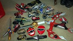 Power rangers, mighty morphin, megazord, lot, accessories, weapons 2001,2002