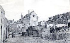 de Sint Janssteeg vanuit de Breedstraat 1951