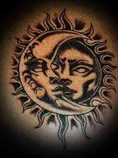 sun and moon tattoos 23 | Ingenious Tattoo Designs