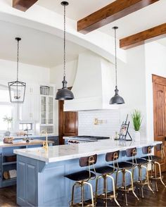 Kitchen with cool stools