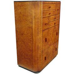 Burl Wood High Chest of Drawers Dresser manner of Donald Deskey at 1stdibs
