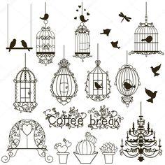 Colección pajareras y aves Vintage. aislado en blanco. Imágenes Prediseñadas. Vector