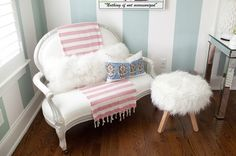 Girly bedroom idea cute white furry chairs